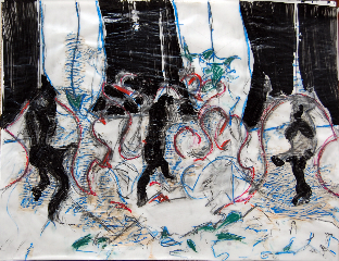 Squirels 3 - acrylique, pastel, papier - Norbert Hillaire, 2007