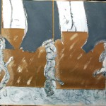 Squirels 4 - crayon, feutre or, acrylique, papier, carton découpé - Norbert Hillaire, 2007
